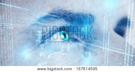 Illustration of virtual data against close up of man looking away with gray eye
