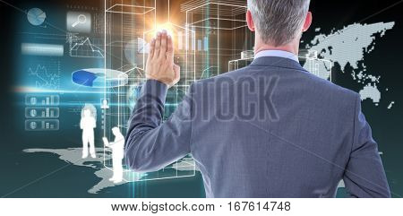 Rear view of businessman taking oath with fingers crossed against global technology background