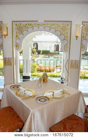 UDAIPUR INDIA - JANUARY 13 2017: Taj Lake Palace Hotel Restaurant. The Neel Kamal Restaurant The fine-dining dinner-only restaurant serves authentic flavors of the royal cuisine of Udaipur.