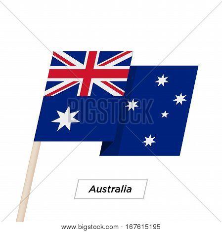Australia Ribbon Waving Flag Isolated on White. Vector Illustration. Australia Flag with Sharp Corners