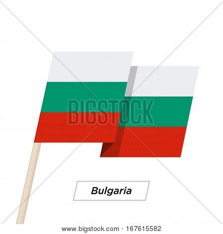 Bulgaria Ribbon Waving Flag Isolated on White. Vector Illustration. Bulgaria Flag with Sharp Corners