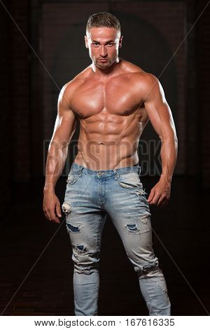 Healthy Man In Jeans With Six Pack