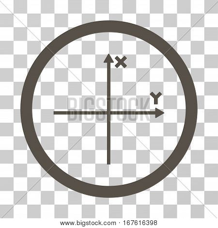 Coordinate Axis rounded icon. Vector illustration style is flat iconic bicolor symbol inside a circle grey and cyan colors transparent background. Designed for web and software interfaces.