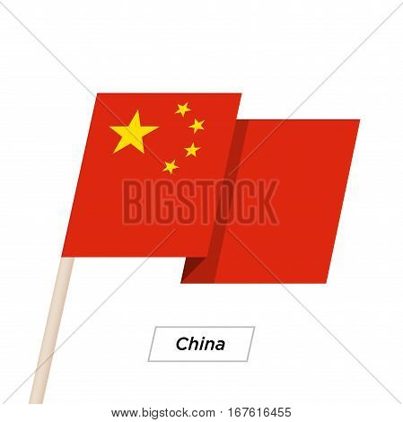 China Ribbon Waving Flag Isolated on White. Vector Illustration. China Flag with Sharp Corners