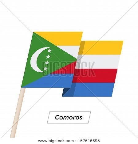 Comoros Ribbon Waving Flag Isolated on White. Vector Illustration. Comoros Flag with Sharp Corners