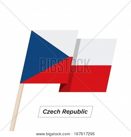 Czech Republic Ribbon Waving Flag Isolated on White. Vector Illustration. Czech Republic Flag with Sharp Corners
