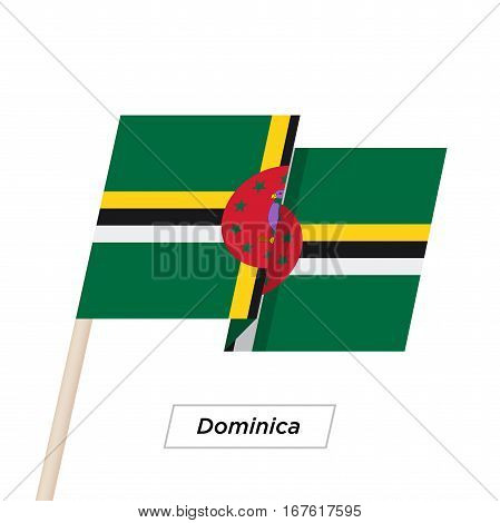 Dominica Ribbon Waving Flag Isolated on White. Vector Illustration. Dominica Flag with Sharp Corners