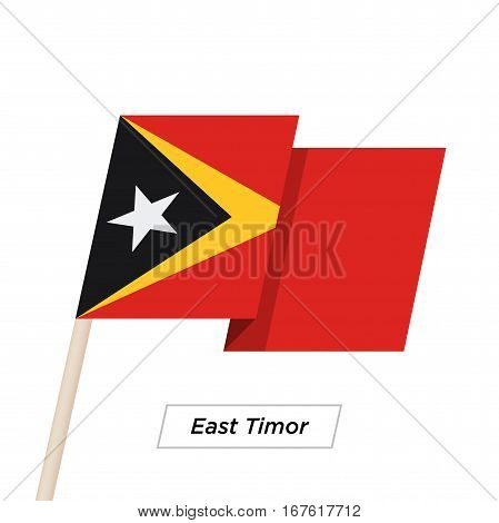 East Timor Ribbon Waving Flag Isolated on White. Vector Illustration. East Timor Flag with Sharp Corners