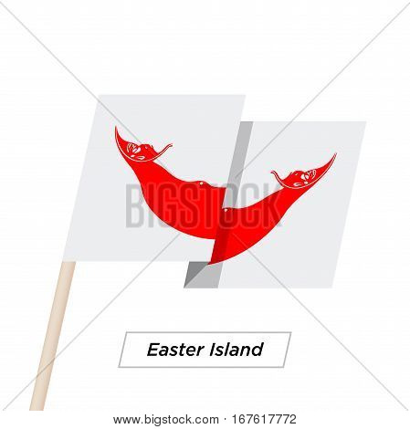 Easter Island Ribbon Waving Flag Isolated on White. Vector Illustration. Easter Island Flag with Sharp Corners