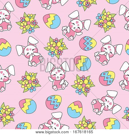 Easter seamless pattern with cute bunny, flowers and egg on pink background suitable for Easter scrap paper, fabric and wallpaper