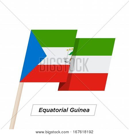 Equatorial Guinea Ribbon Waving Flag Isolated on White. Vector Illustration. Equatorial Guinea Flag with Sharp Corners