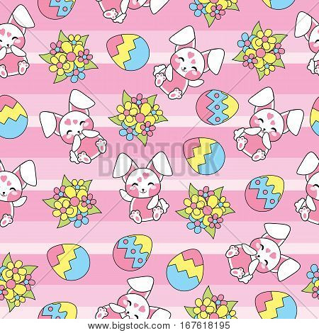 Easter seamless pattern with cute bunny, flowers and egg on stripes background suitable for Easter scrap paper, fabric and wallpaper