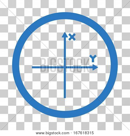 Coordinate Axis rounded icon. Vector illustration style is flat iconic bicolor symbol inside a circle smooth blue colors transparent background. Designed for web and software interfaces.