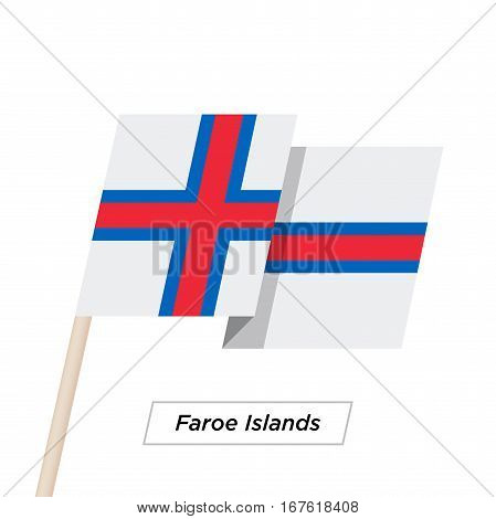 Faroe Islands Ribbon Waving Flag Isolated on White. Vector Illustration. Faroe Islands Flag with Sharp Corners