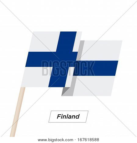 Finland Ribbon Waving Flag Isolated on White. Vector Illustration. Finland Flag with Sharp Corners