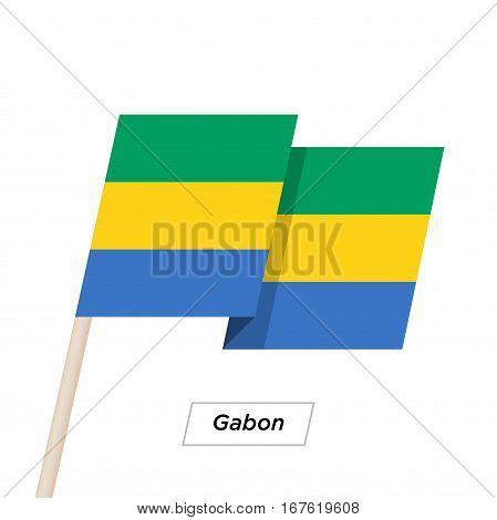 Gabon Ribbon Waving Flag Isolated on White. Vector Illustration. Gabon Flag with Sharp Corners