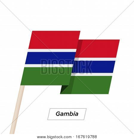 Gambia Ribbon Waving Flag Isolated on White. Vector Illustration. Gambia Flag with Sharp Corners