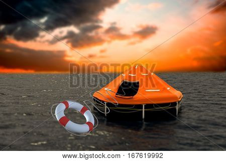Composite image of life belt with rope against orange and blue sky with clouds 3d