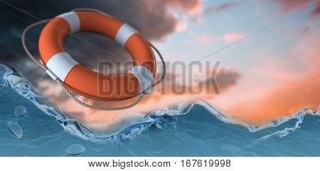 Life belt against white background against orange and blue sky with clouds 3d