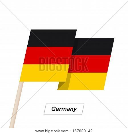 Germany Ribbon Waving Flag Isolated on White. Vector Illustration. Germany Flag with Sharp Corners