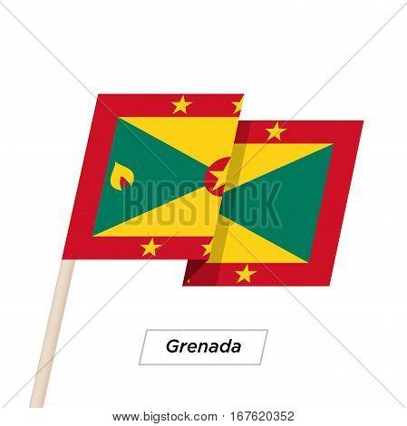 Grenada Ribbon Waving Flag Isolated on White. Vector Illustration. Grenada Flag with Sharp Corners