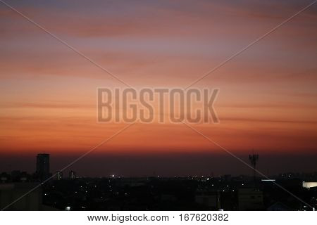 Soft focus of fiery orange sunset sky landscape background. Golden hour sky and blur background