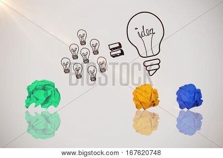 Digital image of yellow crumpled paper against idea and innovation graphic
