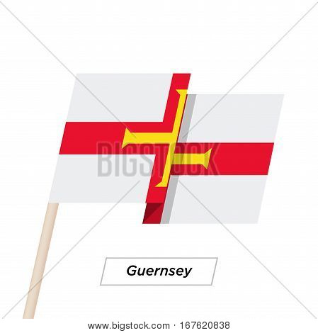 Guernsey Ribbon Waving Flag Isolated on White. Vector Illustration. Guernsey Flag with Sharp Corners