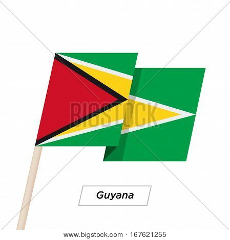 Guyana Ribbon Waving Flag Isolated on White. Vector Illustration. Guyana Flag with Sharp Corners