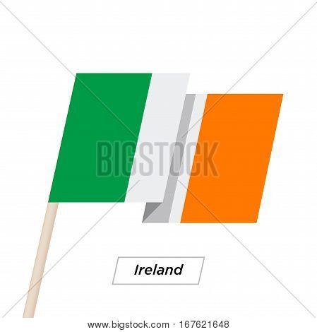Ireland Ribbon Waving Flag Isolated on White. Vector Illustration. Ireland Flag with Sharp Corners