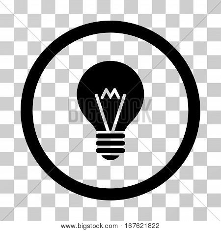 Hint Bulb rounded icon. Vector illustration style is flat iconic symbol inside a circle black color transparent background. Designed for web and software interfaces.