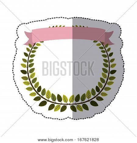 sticker border of leaves with pink label vector illustration