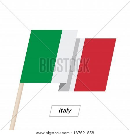 Italy Ribbon Waving Flag Isolated on White. Vector Illustration. Italy Flag with Sharp Corners