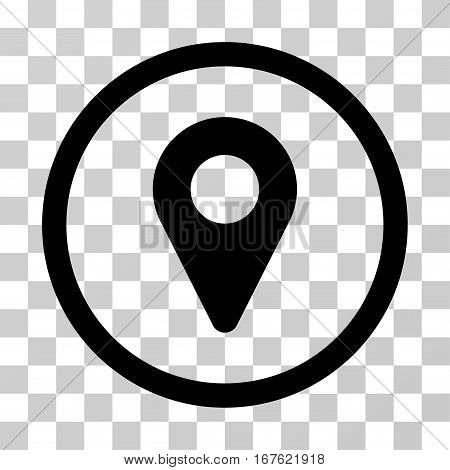 Map Marker rounded icon. Vector illustration style is flat iconic symbol inside a circle black color transparent background. Designed for web and software interfaces.