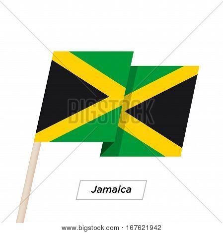 Jamaica Ribbon Waving Flag Isolated on White. Vector Illustration. Jamaica Flag with Sharp Corners