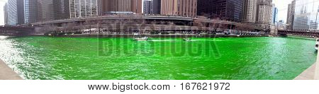 Panoramic view of the dying of the Chicago river green on Saint Patrick's Day