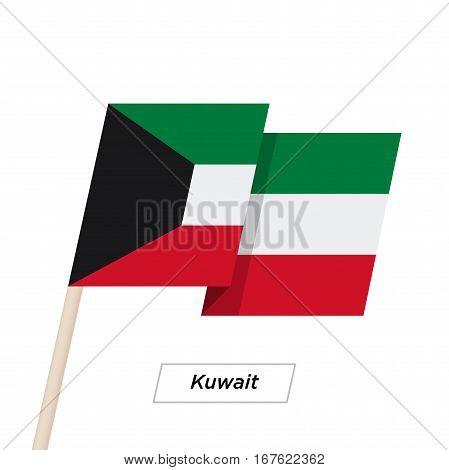 Kuwait Ribbon Waving Flag Isolated on White. Vector Illustration. Kuwait Flag with Sharp Corners