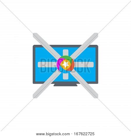 Vector icon or illustration showing television marketing and advertising with star in material design style