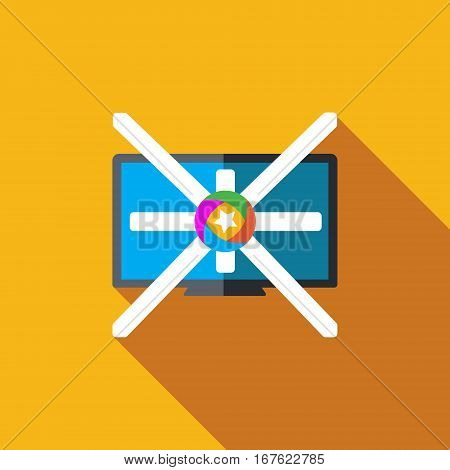 Vector icon or illustration showing television marketing and advertising with star in flat design style with long shadow