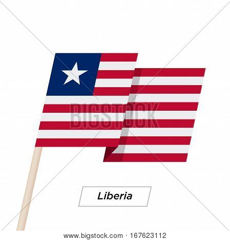 Liberia Ribbon Waving Flag Isolated on White. Vector Illustration. Liberia Flag with Sharp Corners