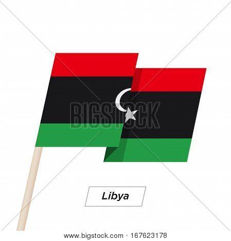 Libya Ribbon Waving Flag Isolated on White. Vector Illustration. Libya Flag with Sharp Corners