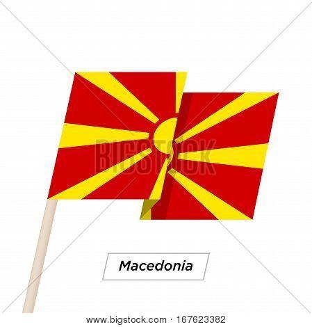 Macedonia Ribbon Waving Flag Isolated on White. Vector Illustration. Macedonia Flag with Sharp Corners