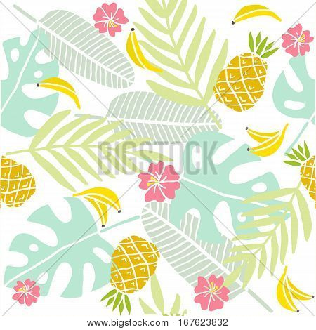 Tropical background. Palm leaves, exotic fruits. Vector hand drawn seamless pattern.