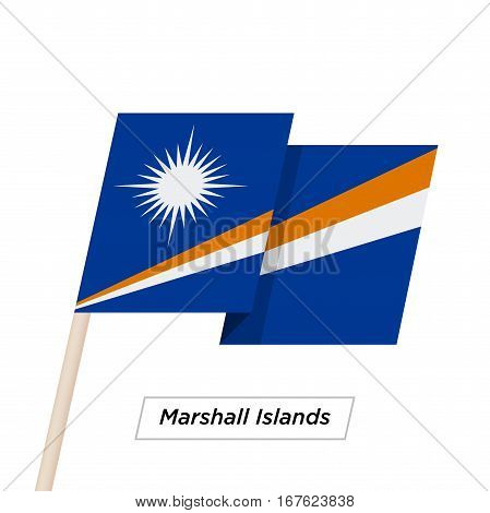 Marshall Islands Ribbon Waving Flag Isolated on White. Vector Illustration. Marshall Islands Flag with Sharp Corners