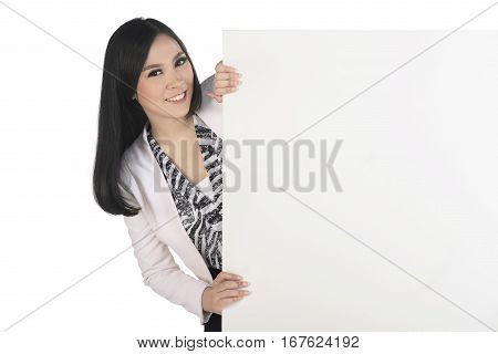 Beautiful Asian Business Woman Standing Behind Blank Sign Board