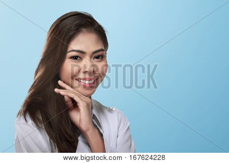 Charming Asian Woman Face With White Shirt