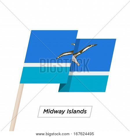 Midway Islands Ribbon Waving Flag Isolated on White. Vector Illustration. Midway Islands Flag with Sharp Corners