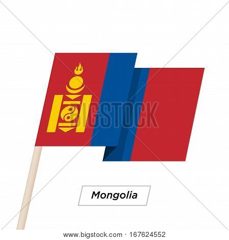 Mongolia Ribbon Waving Flag Isolated on White. Vector Illustration. Mongolia Flag with Sharp Corners