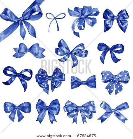 Watercolor bow set. Different blue bows and ribbons for holidays, greeting, celebration as Christmas, birthday, Valentines day, wedding.