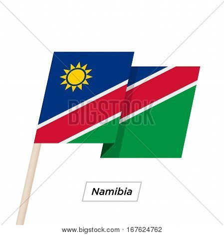 Namibia Ribbon Waving Flag Isolated on White. Vector Illustration. Namibia Flag with Sharp Corners